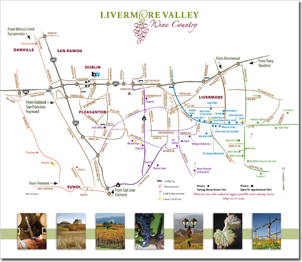 Livermore Valley Winegrowers Association - Wine Country Brochure (Center Map)