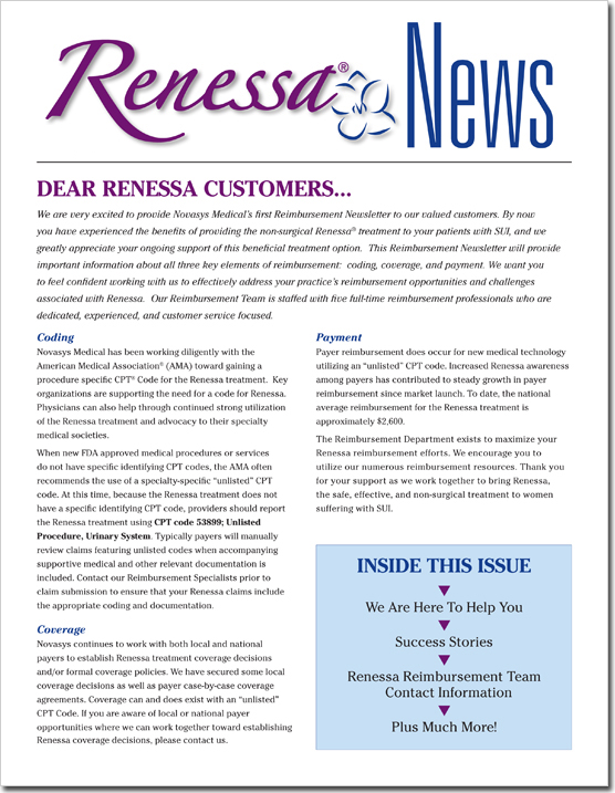 Novasys Medical - Renessa Newsletter