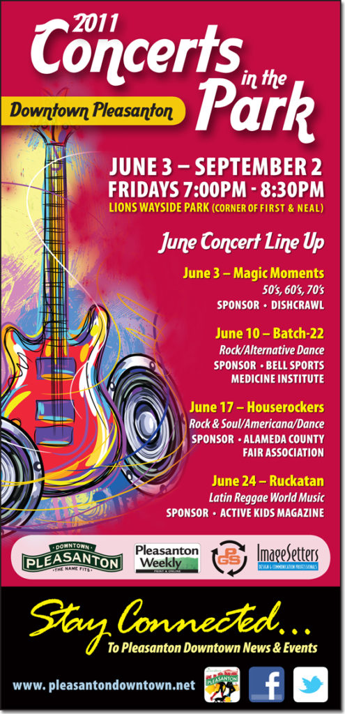 Pleasanton Downtown Association - Concerts in the Park Ad