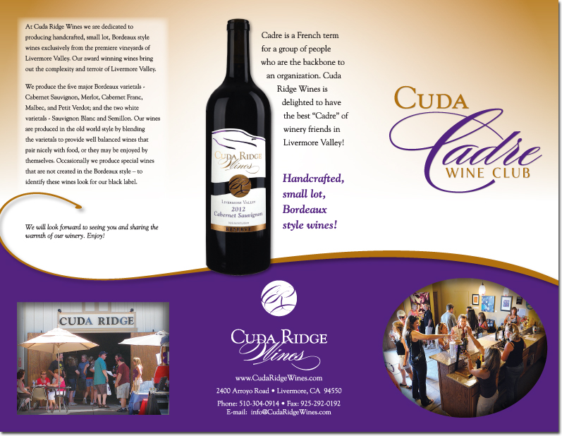Cuda Ridge Wines - Cadre Wine Club Brochure (Outside)