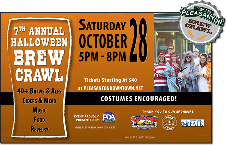 Pleasanton Downtown Association October Brew Crawl Ad
