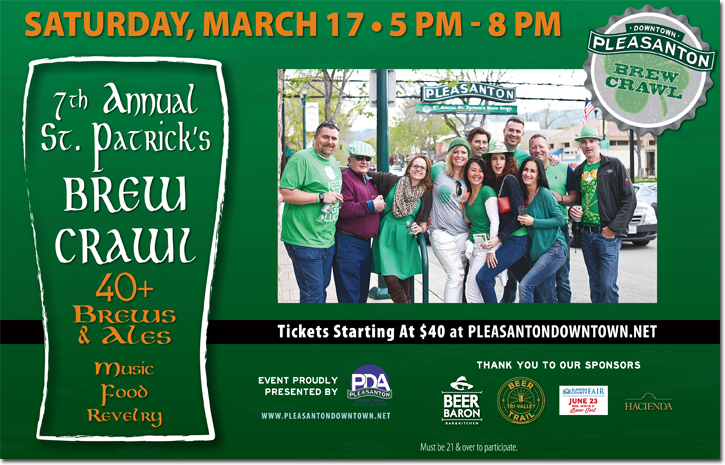 Pleasanton Downtown Association March Brew Crawl Ad